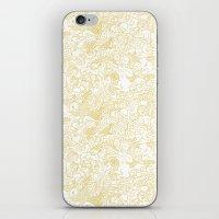 zodiac iPhone & iPod Skins featuring White Zodiac by Nina Y