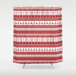 Nordic fair isle Christmas pattern Shower Curtain