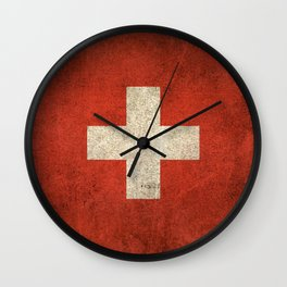 Old and Worn Distressed Vintage Flag of Switzerland Wall Clock