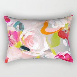 Dream flowers in pink rose floral abstract art Rectangular Pillow