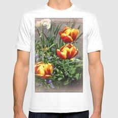Tulips MEDIUM White Mens Fitted Tee