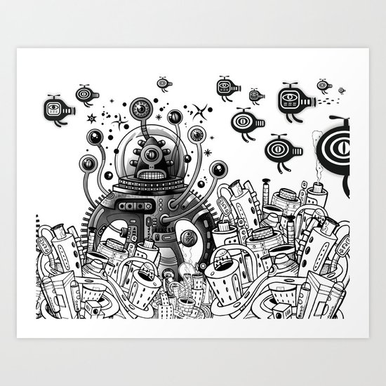 Alien in mecanic jungle Art Print