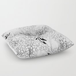 Succulents, black and white Floor Pillow