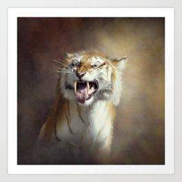 Sabertooth tiger portrait.Digital art Art Print
