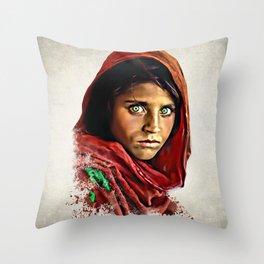 Afghan Girl - Sharbat Gula Painting Throw Pillow
