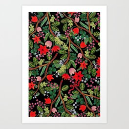 Christmas Floral Black Art Print