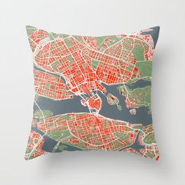 Stockholm city map classic Throw Pillow