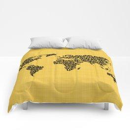 Yellow world map Comforters