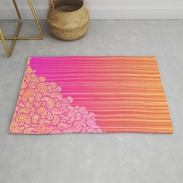The Unraveling of Paisley Lace (in ombre pink and gold) Rug