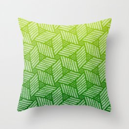 Japanese style wood carving pattern in green Throw Pillow