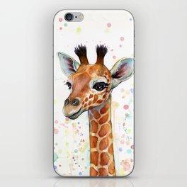 Giraffe Baby Watercolor iPhone Skin