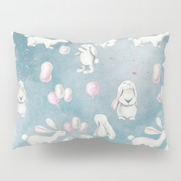 Bunnies Bunny in heaven-Cute Animal illustration pattern Pillow Sham