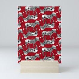 Zebra Santas in Red Mini Art Print