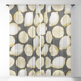 Lemons on black background Sheer Curtain