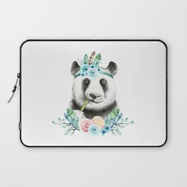 Watercolor Floral Spray Boho Panda Laptop Sleeve