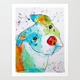 Vibrant Pit Bull Art Print
