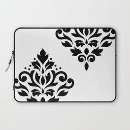 Scroll Damask Art I Black on White Laptop Sleeve