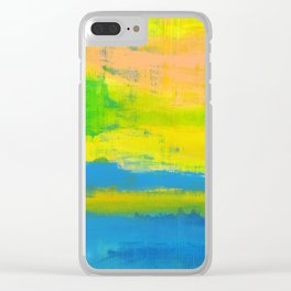 'A Sunny Day' Yellow Coral Blue Abstract Art Clear iPhone Case