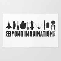 battlestar galactica Area & Throw Rugs featuring Beyond imagination: Battlestar Galactica postage stamp  by Chungkong