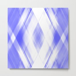 Light warm triangular strokes of intersecting sharp lines with indigo triangles and stripes. Metal Print