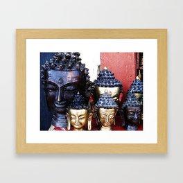 Buddha Heads Travel Photography from Nepal Framed Art Print