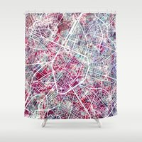 brussels Shower Curtains featuring Brussels Map by MapMapMaps.Watercolors