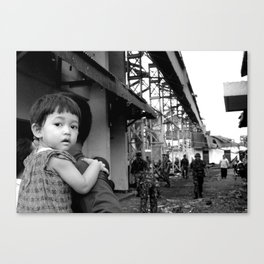 Yogyakarta, INDONESIA - FEBRUARY 19: number of buildings and infrastructure ravaged by a tornado in  Canvas Print