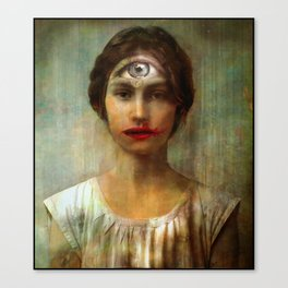 The girl with on eye Canvas Print