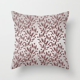 Stylish rose gold burgundy silver glitter gradient floral Throw Pillow