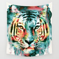tiger Wall Tapestries featuring TIGER by RIZA PEKER