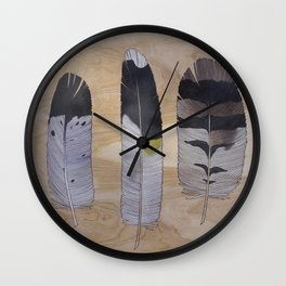 Eagle, Goldfinch, Owl Feathers Wall Clock