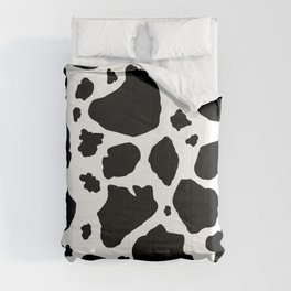 black and white animal print cow spots Comforters