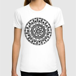 Black and White Circular Hand-Drawn Mandala T-shirt