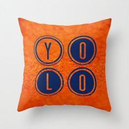 YOLO Dark Blue Throw Pillow