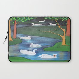 A Flock of Seven Swans-A-Swimming Laptop Sleeve