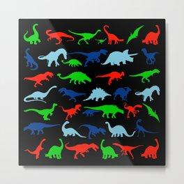 silhouettes of dinosaur pattern Metal Print