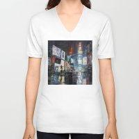 broadway V-neck T-shirts featuring Nights on Broadway by Scott Grabowski