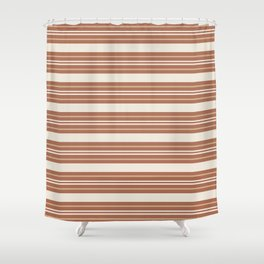 Ligonier Tan SW 7717 and Creamy Off White SW7012 Horizontal Line Pattern 6 on Cavern Clay SW 7701 Shower Curtain