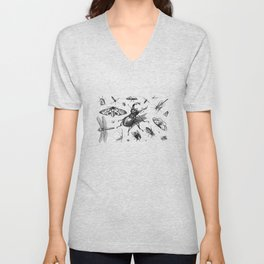 Collection Of Insects Bug Beetle Bee Unisex V-Neck