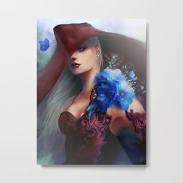 Kissed by the light - Blonde girl with hat and blue flowers Metal Print