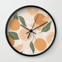 Modern Abstract Orange Pattern Wall Clock