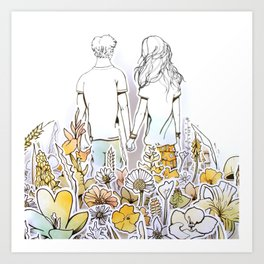 Holding Hands (3D papercut) Art Print