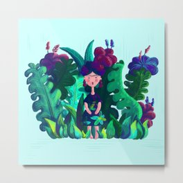 Floral Jungle Frida Kahlo Colorful Illustratration Metal Print