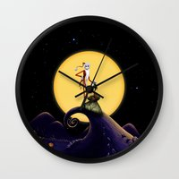 jack skellington Wall Clocks featuring Christmas Nightmare Jack Skellington by Inara