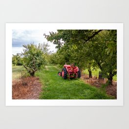 tractor in orchard Art Print
