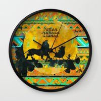 simba Wall Clocks featuring Timon, Pumbaa & Simba. by Sara Eshak
