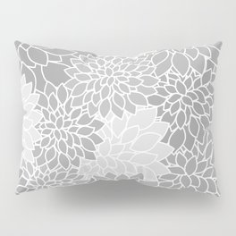 Gray Dahlias / Gray Flowers Pillow Sham