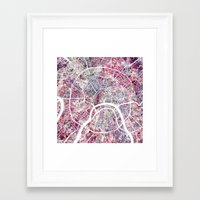 moscow Framed Art Prints featuring Moscow by MapMapMaps.Watercolors
