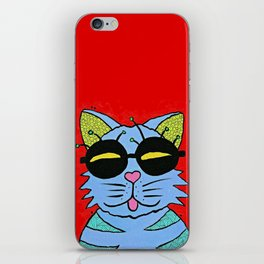 cat with glasses iPhone Skin
