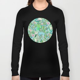 Improbable Botanical with Dinosaurs - soft pastels Long Sleeve T-shirt